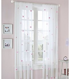 On Your Own Lily Cream & Pink Allover Flower Draperies