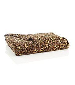 Elite Home Products All Seasons Plush Micro Fleece Leopard-Print Blanket