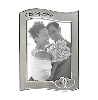 "Malden 5""x7"" ""Just Married"" Silver Picture Frame"