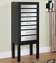 Powell® Black Jewelry Armoire with Mirrored Drawer Fronts
