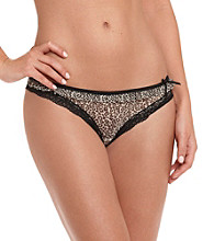DKNY® Black/Leopard Fancy Frill Thong
