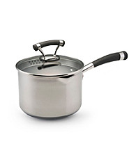 Circulon Contempo Stainless Steel 3 Qt. Covered Nonstick Straining Saucepan