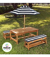 KidKraft Outdoor Table and Bench Set with Cushions & Umbrella