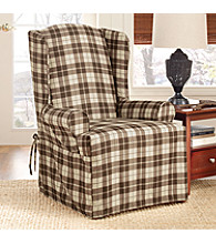 Sure Fit® Soft Suede Plaid Wing Chair Slipcover