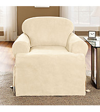 Sure Fit® Soft Suede One-Piece T-Cushion Chair Slipcover