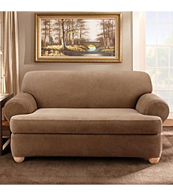 Sure Fit® Stretch Stripe Separate-Seat T-Cushion Loveseat & Sofa Slipcover