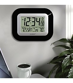 La Crosse Technology® Digital Atomic Wall Clock with Temperature -Black