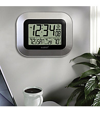 La Crosse Technology® Digital Atomic Wall Clock with Temperature -Silver