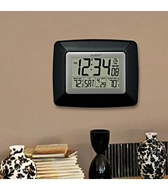 La Crosse Technology® Atomic Digital Clock with Wireless Outdoor Temperature - Black