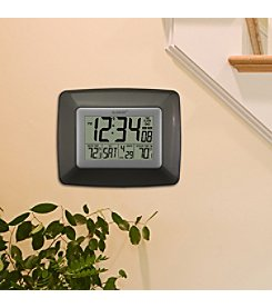 La Crosse Technology® Atomic Digital Clock with Wireless Outdoor Temperature - Brown