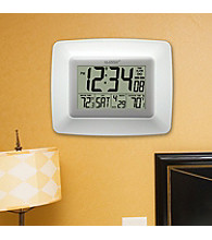 La Crosse Technology® Atomic Digital Clock with Wireless Outdoor Temperature -White
