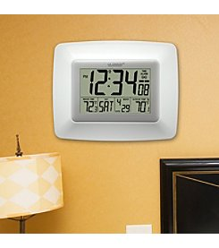 La Crosse Technology® White Atomic Digital Clock with Wireless Outdoor Temperature