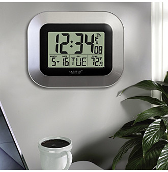 La Crosse Technology Atomic Clock with Temperature - Silver