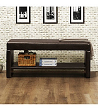 Home Interior Multifunctional Dark Brown Bench with Shelf