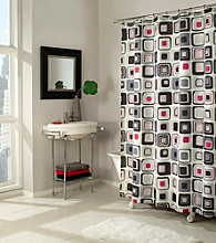 m. style™ Shower Curtain - Blocks Black/Red