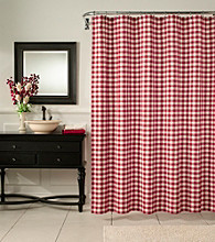 m.style™ Classic Check Barn Red Shower Curtain or Window Valance
