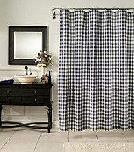 m.style™ Classic Check Denim Shower Curtain or Window Valance
