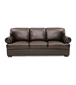 Chateau D'Ax Malone Rollarm Brown Leather Sofa