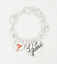 GUESS Silvertone Double Heart Bracelet