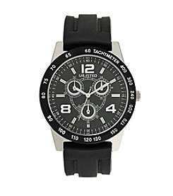 Unlisted by Kenneth Cole® Men's Black Rubber Strap Watch