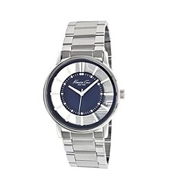 Kenneth Cole New York® Men's Silvertone with Transparent Blue Dial Watch