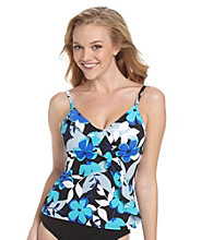 Caribbean Joe® Spring Fever Black Diagonal Ruffle Swim Top