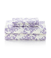 LivingQuarters Easy Care Purple Leaves Microfiber Sheet Sets