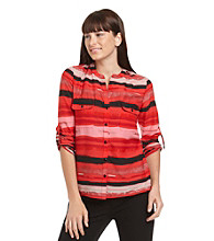 Notations® Rolled-Tab Sleeve Striped Equipment Shirt