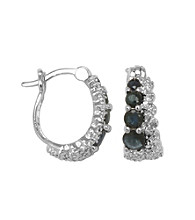 Rhodium-Plated Brass Genuine Sapphire and Diamond Accent Hoop Earrings