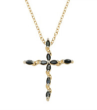 18K Gold-Over-Brass Genuine Sapphire Cross Pendant