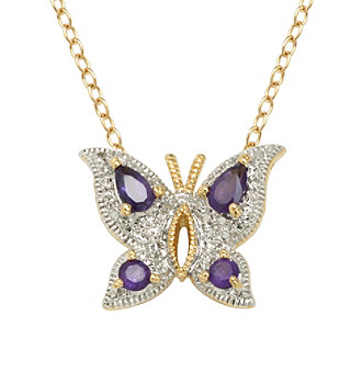 18K Gold-Over-Brass Genuine African Amethyst and Diamond Accent Butterfly Pendant