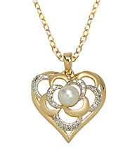 18K Gold-Over-Brass Genuine White Pearl and Diamond Accent Heart Pendant