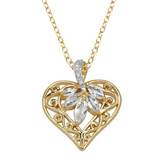 18K Gold-Over Brass Genuine White Topaz and Diamond Accent Heart Pendant