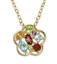 18K Gold-Over-Brass Genuine Multi-Stone Flower Pendant
