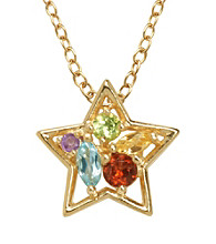18K Gold-Over-Brass Genuine Multi-Stone Star Pendant