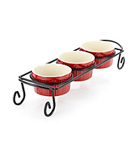 Sorrento Ruby Set of 3 Ramekins with Caddy