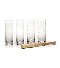 Mikasa® Cheers Set of 4 Mojito Glasses with Muddler
