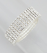 BT-Jeweled 5-Row Clear Stone Stretch Bracelet