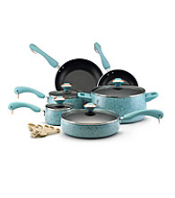 Paula Deen® Signature Porcelain Enamel Nonstick 15-pc. Robin's Egg Blue Speckle Cookware Set