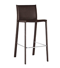 Baxton Studios Ferdinand Brown Low-Back Bar Stool