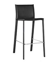 Baxton Studios Ferdinand Black Low-Back Bar Stool