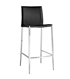 Baxton Studios Holofernes Black Mid-Back Bar Stool