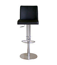 Baxton Studios Hugh Black Mid-Back Adjustable Bar Stool
