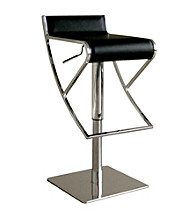 Baxton Studios Lago Black Low-Back Adjustable Bar Stool