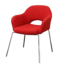 Baxton Studios Mid-Century Modern Red Twill Arm Chair