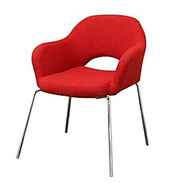 Baxton Studios Mid-Century Modern Red Twill Arm Chair