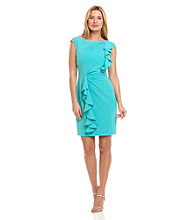 Calvin Klein Spearmint Cap-Sleeve Shoulder and Hip-Draped Ruffle Dress