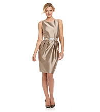 Alex Evenings® Sand Sleeveless Taffeta Shift Dress with Beaded Belt