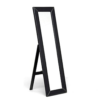 Baxton Studios McLean Dark Brown Modern Mirror with Built-In Stand