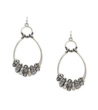 Jessica Simpson Silvertone Spacer Double Drop Earrings